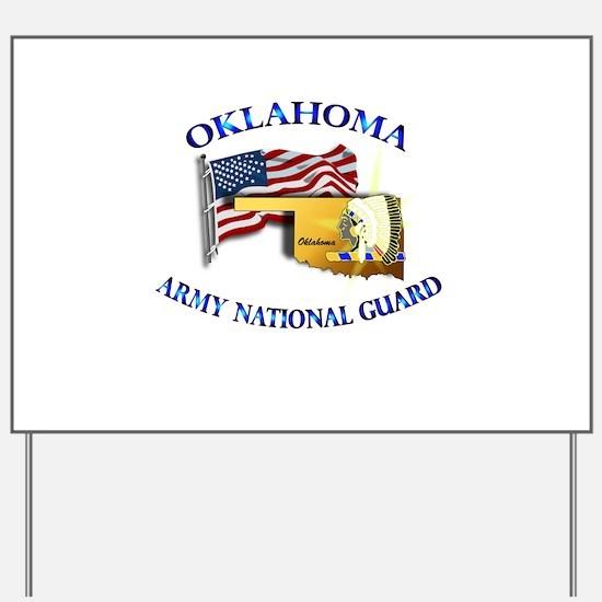 Army National Guard - OKLAHOMA w Flag Yard Sign
