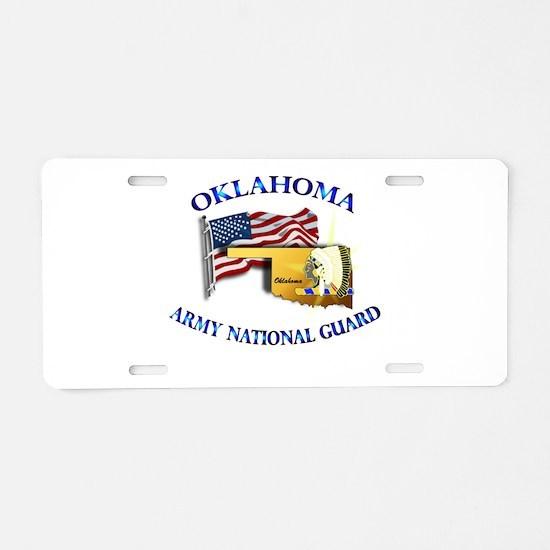 Army National Guard - OKLAHOMA w Flag Aluminum Lic