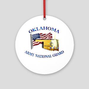 Army National Guard - OKLAHOMA w Flag Ornament (Ro