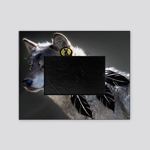3 Feathers Wolf Picture Frame