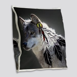 3 Feathers Wolf Burlap Throw Pillow