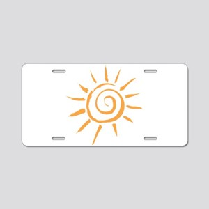 Spiral Sun Aluminum License Plate