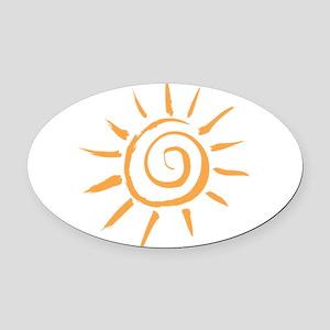 Spiral Sun Oval Car Magnet