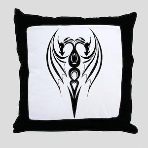 Twin Tribal Dragon Soulmate Throw Pillow