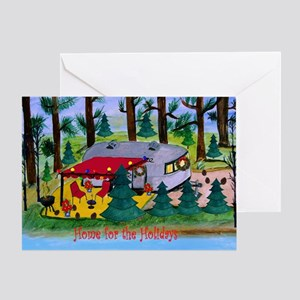 Retro Camper Christmas By The Lake Greeting Cards