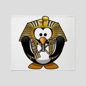 King Tut Penguin Throw Blanket