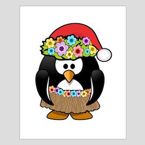 Hawaiian Christmas Penguin Poster Design