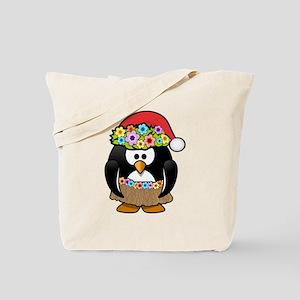 Hawaiian Christmas Penguin Tote Bag
