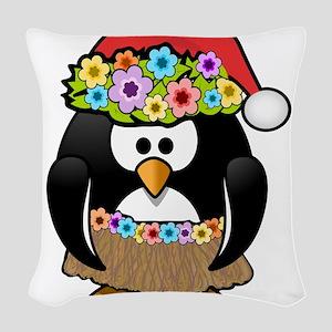 Hawaiian Christmas Penguin Woven Throw Pillow