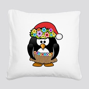 Hawaiian Christmas Penguin Square Canvas Pillow