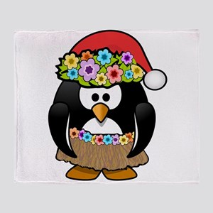 Hawaiian Christmas Penguin Throw Blanket