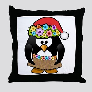 Hawaiian Christmas Penguin Throw Pillow