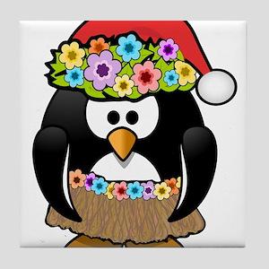 Hawaiian Christmas Penguin Tile Coaster