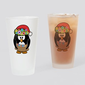 Hawaiian Christmas Penguin Drinking Glass