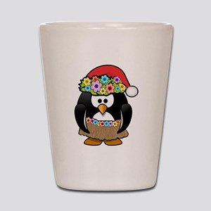 Hawaiian Christmas Penguin Shot Glass