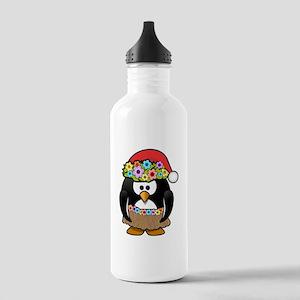Hawaiian Christmas Penguin Sports Water Bottle