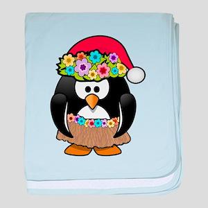 Hawaiian Christmas Penguin baby blanket