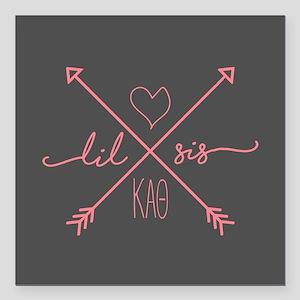 """Kappa Alpha Theta Lil Ar Square Car Magnet 3"""" x 3"""""""