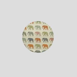 Elephant Colorful Repeating Pattern De Mini Button