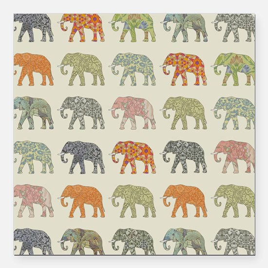 "Elephant Colorful Repeat Square Car Magnet 3"" x 3"""