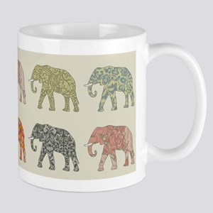 Elephant Colorful Repeating Pattern Decorator Mugs