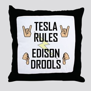 Tesla Rules Throw Pillow