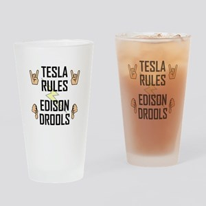 Tesla Rules Drinking Glass