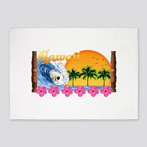 Hawaiian Surfing 5'x7'Area Rug