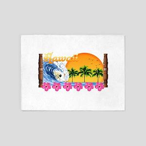 Hawaiian Surfing 5'x7'Area Rug