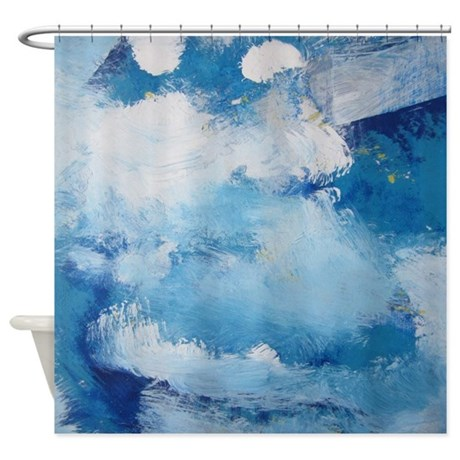 Blue Sky Cloud Abstract Art Shower Curtain By 22jff1122