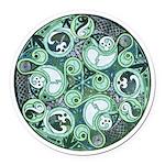 Celtic Stormy Sea Mandala Round Car Magnet