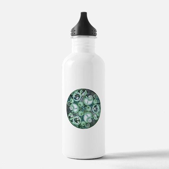 Celtic Stormy Sea Mandala Water Bottle