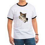 Funny Wolf Face Ringer T