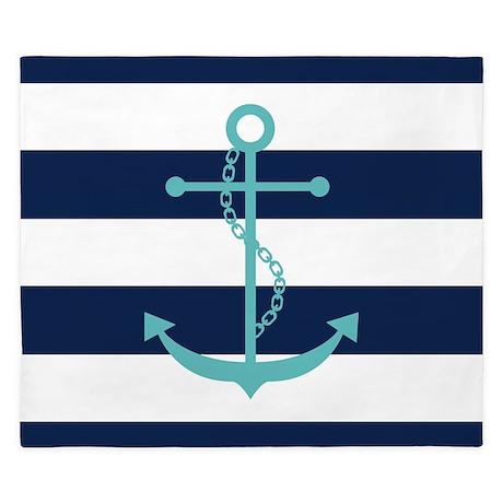 Teal Anchor On Blue Stripes King Duvet By Mcornwallshop