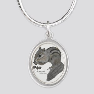 Chipmunk Silver Oval Necklace