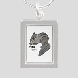 Chipmunk Silver Portrait Necklace