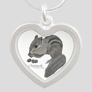 Chipmunk Silver Heart Necklace