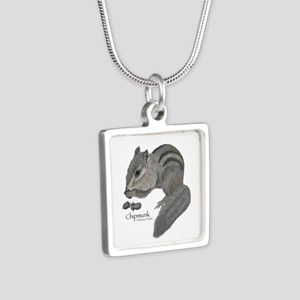 Chipmunk Silver Square Necklace