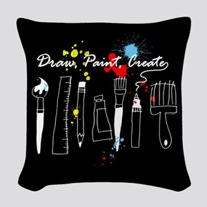 Draw Paint Create (Color) Woven Throw Pillow