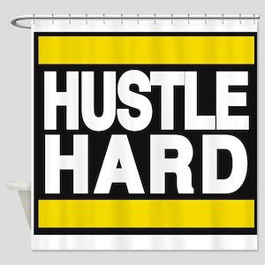 hustle hard yellow Shower Curtain