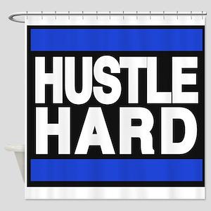 hustle hard blue Shower Curtain