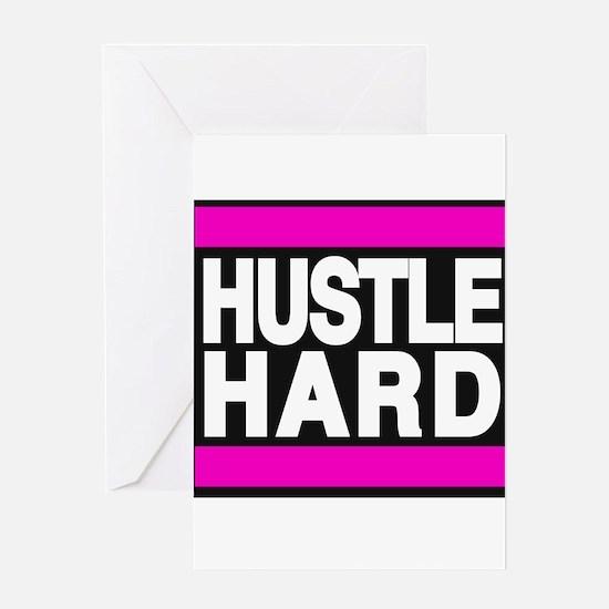 hustle hard pink Greeting Card