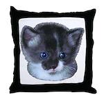 Blue Eyed Kitten Throw Pillow