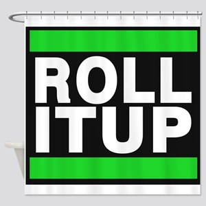 Roll It Up Green Shower Curtain