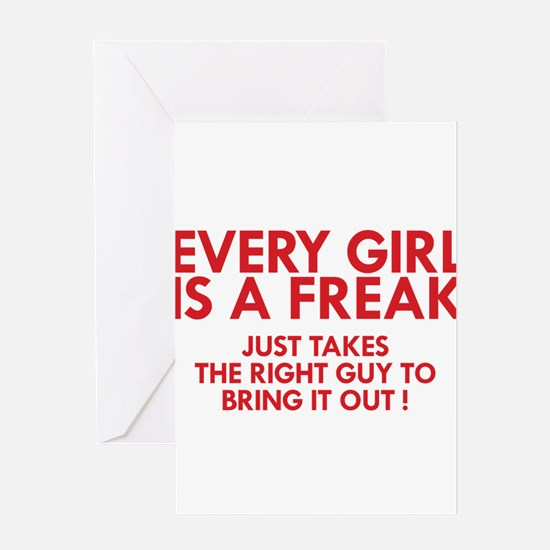 every girl is a freak red Greeting Card