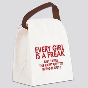 every girl is a freak red Canvas Lunch Bag