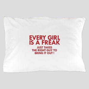 every girl is a freak red Pillow Case