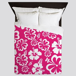Tropical flowers - pink Queen Duvet