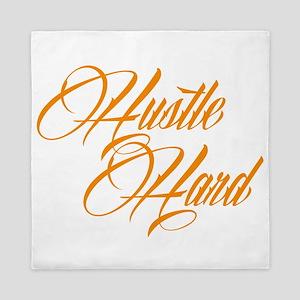 hustle hard orange Queen Duvet