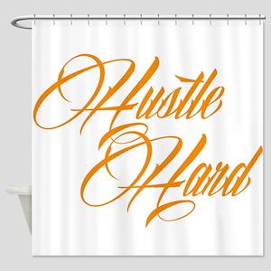 hustle hard orange Shower Curtain